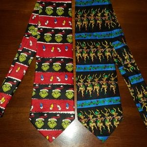 Two holiday Christmas men's neckties Scrooge